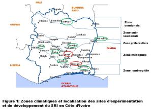 Carte des sites d'expérimentation / développement du SRI en 2014